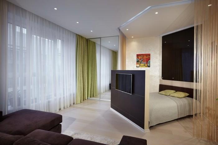 Зонирование гостиной и спальни: дизайнерские идеи.