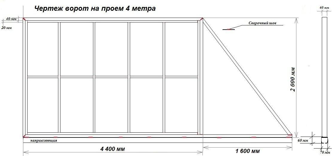 Откатные ворота с калиткой своими руками чертеж 455