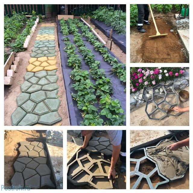 Плитка на садовые дорожки своими руками 61
